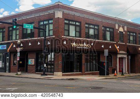NORWALK, CT, USA - MAY 14, 2021: Rio Bravo restaurant in downtown
