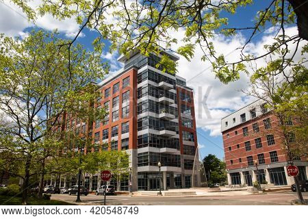 NORWALK, CT, USA - MAY 14, 2021: Modern building architecture near Norwalk river in nice spring day