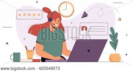 Female Operator Wearing Headphones Consults Clients On The Phone. Support Service Operator. The Conc