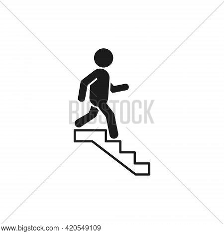 Downstairs Icon Sign. Walking Man In The Stairs Flat Design. Vector Isolated Illustration.