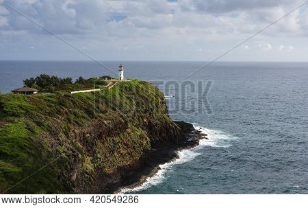 Kilauea Lighthouse Is Located In A Protected Home For Nesting Seabirds. The Lighthouse And Kilauea N