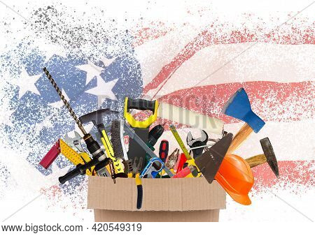 Labor Day Sale Poster Template. Usa Labor Day Celebration With American Balloons Flag, Star And Tool
