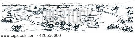 Golf Course With Water And Sand Bunkers. Summer Landscape Vector Hand Drawn Sketch Illustration. Gol