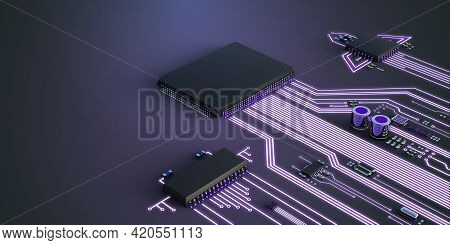 Abstract Illustration Of Competing Processors. The Best Processor Is Ahead