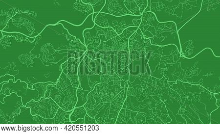 Dark Green Jerusalem City Area Vector Background Map, Streets And Water Cartography Illustration. Wi