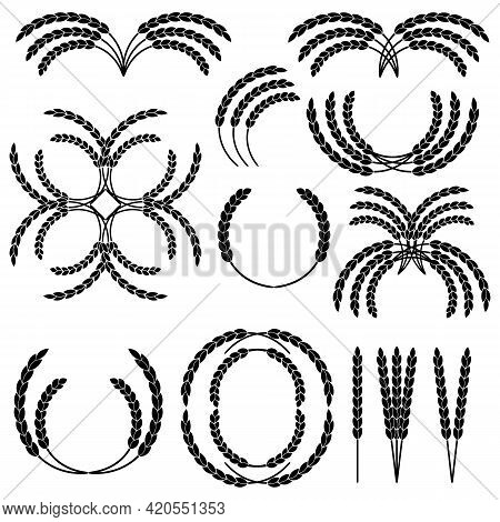 Set Of Wheat Wreaths And Grain Spikes. Illustrations And Pictograms. Black And White Vector Clipart