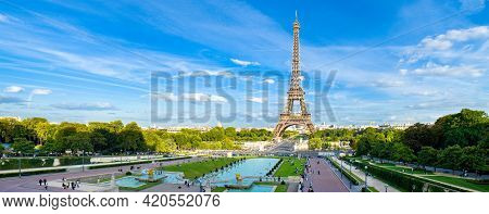 Paris, France - The Eiffel Tower In Paris, France, One Of The Most Iconic Landmarks Of Paris, France
