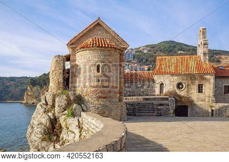 Religious Architecture. Montenegro. Old Town Of Budva. Church Of Santa Maria In Punta And Church Of