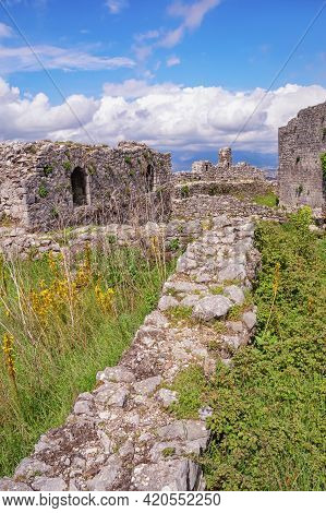 Ancient Fortifications.  Albania, Shkoder City.  Ruins Of Ancient Fortress Of Rozafa Castle