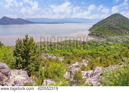 Beautiful Mountain Landscape On Sunny Spring Day.  Montenegro. National Park Lake Skadar. View Of Co