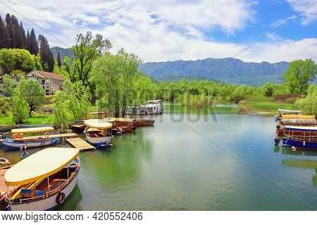 Beautiful Mountain Landscape With Tourist Boats On River On Sunny Spring Day.  Montenegro. National