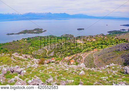 Montenegro. National Park Lake Skadar  On Cloudy Spring Day. View Of Coast Of Lake Skadar