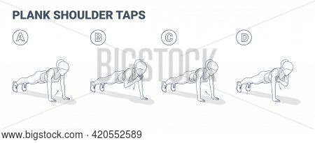 Girl Doing Plank Shoulder Taps Workout Exercise Guide. Woman Doing Shoulder Touches From Plank.