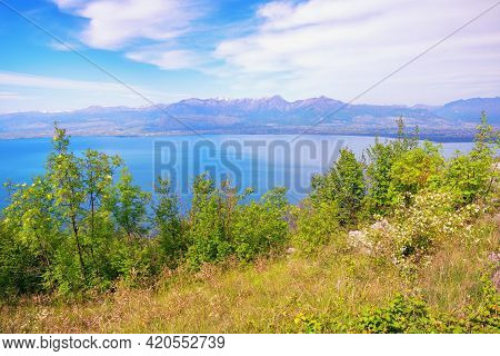 Montenegro. National Park Lake Skadar. Beautiful Mountain Landscape On Sunny Day. View Of Coast Of L
