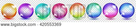 Set Of Translucent Colored Spheres With Glares And Shadows On Transparent Background. Transparency O