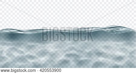 Translucent Water In Gray Colors With Caustics Ripple, Isolated On Transparent Background. Transpare
