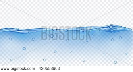 Translucent Water In Blue Colors With Air Bubbles, Isolated On Transparent Background. Transparency