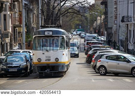 Bucharest, Romania - April 05, 2021: An Old Tatra T4 Tram Produced By The Czech Manufacturer Ckd Tat