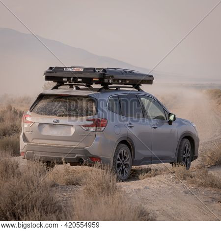 Great Basin National Park, United States: August 4, 2020: Dirty Subaru Forester With Rooftop Tent On
