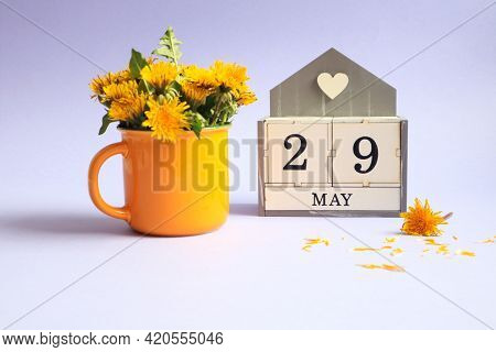 Calendar For May 30: Cubes With The Number 30, The Name Of The Month Of May In English, A Bouquet Of