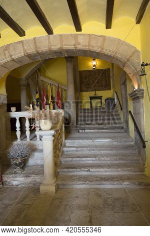 Montclar, Spain, May 1, 2020 - Interior Of Old Medieval Montclar Castle In Lleida Province. Ancient