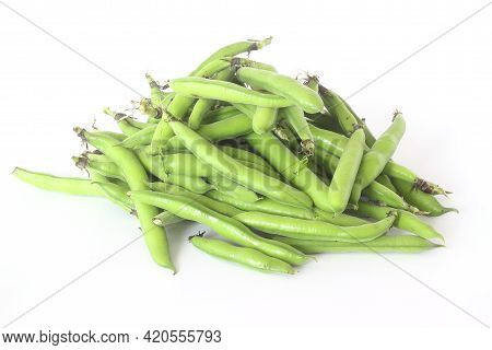 Broad Beans Pods Isolated On White Background