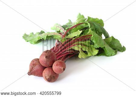 Red Beet Root With Leaves Isolated On White Background. Healthy Food Concept.