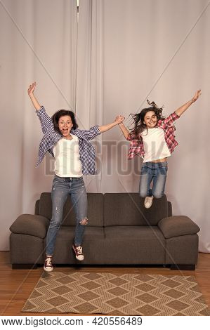 Girls Power Concept. Celebrate Womens Day. Girls Only. Mom And Daughter Friends. Mother Cheerful Dau