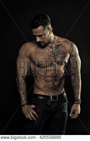 Beautiful Male Torso. Men Tattoo Casual Fashion. Muscular Bodybuilder Posing. Sexy Portrait Of Sport