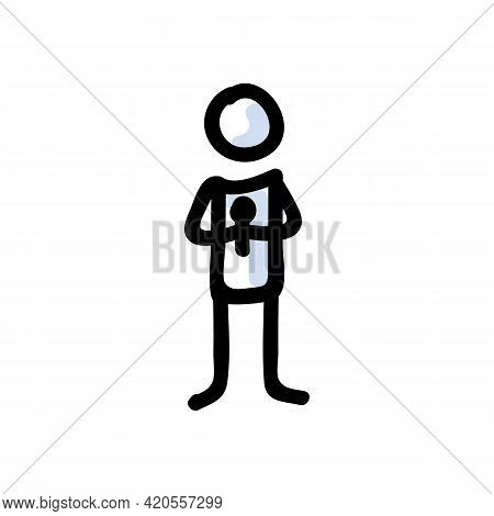 Hand Drawn Stick Figure Holding Microphone. Concept Of Public Speaking Performer. Simple Icon Motif