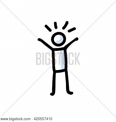 Hand Drawn Optimistic Stick Figure In Cheerful Pose. Concept Of Positive Happy Expression. Simple Ic