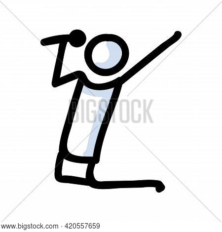 Hand Drawn Stick Figure Singer Performer. Concept Of Concert With Microphone. Simple Icon Motif For