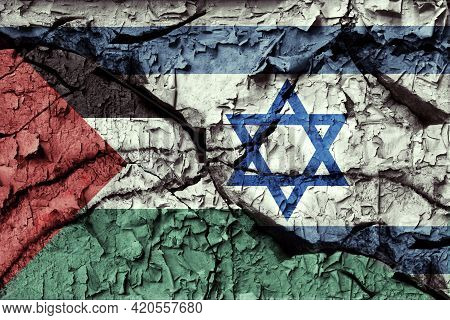 Flags Of Palestine And Israel Painted On Cracked Wall. Palestinian Conflict Concept. 3d Illustration