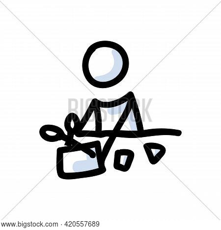 Hand Drawn Stick Figure With Scissors. Paper Cutting Concept. Simple Icon Motif For Arts And Crafts