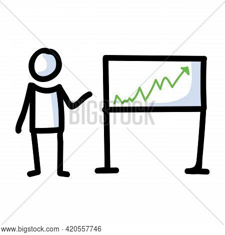 Hand Drawn Stick Figure Business Growth Chart. Concept Of Finance Report Expression. Simple Incon Mo