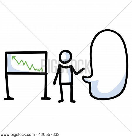 Hand Drawn Stick Figure Business Growth Chart. Concept Of Finance Report Expression. Simple Icon Mot