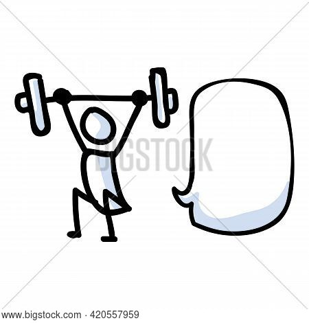 Hand Drawn Stick Figure Lifting Weight. Concept Of Gym Excercise Journal Bullet. Simple Icon Motif F