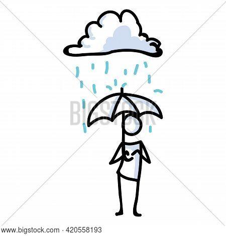 Hand Drawn Stick Figure Umbrella In Rain. Concept Of Storm Shelter Expression. Simple Icon Motif Rai