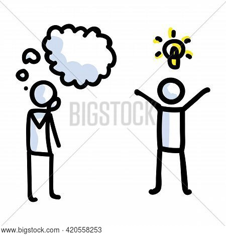 Hand Drawn Thinking Stick Figure With Idea. Concept Of Inspiration Lightbulb Thought Expression. Sim