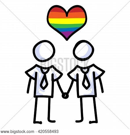 Hand Drawn Stick Figure Of Gay Marriage. Concept Of Lgbt Equality For Diversity Illustration. Simple