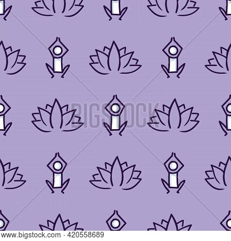 Stick Figure Yoga Pose With Lotus Flower Seamless Vector Pattern. Hand Drawn Peace Zen And Wellness