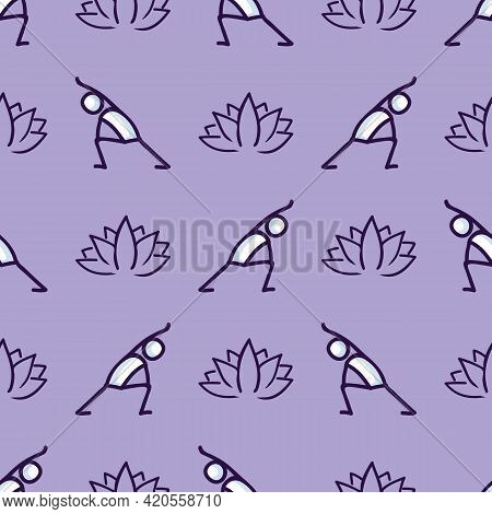 Stick Figure Lunge Yoga Pose With Lotus Flower Seamless Vector Pattern. Hand Drawn Peace Zen And Wel
