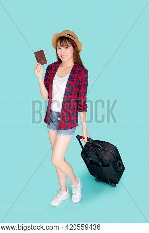 Beautiful Young Asian Woman Smiling And Travel Summer Trip With Luggage And Holding Passport For Abr