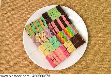 Malaysian Traditional Food Called As Kek Lapis Sarawak Or Sarawak Layered Cake. Similar Cake In Indo