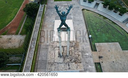 Aerial View Of West Irian Liberation Monument In Downtown Jakarta With Jakarta Cityscape. Jakarta -