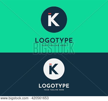 K Letter Modern Design Vector With Circle. Blue And Green Colors Logotype Design Template. Elegant A