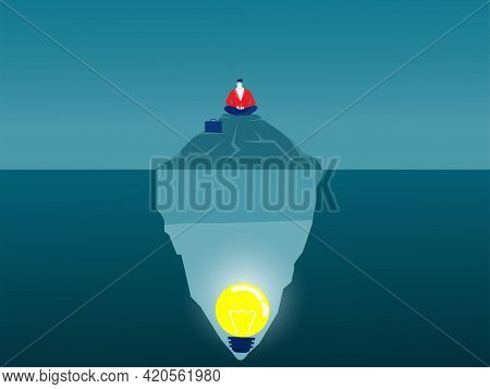 Businessman Meditation On Iceberg Conscious Mind Idea Concept Vector Illustrator.