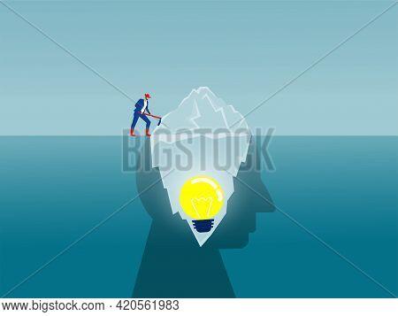 Businessman  Dig On Iceberg Conscious Mind Idea Concept Vector Illustrator.