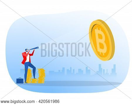 Businessman Looking Through A Telescope Bitcoin For Invest Future. Vector Illustration