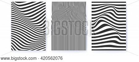 Set Of Layouts With Distorted Wavy Lines. Monochrome Pattern With Flowing Stripes. Optical Minimalis